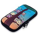 """kwmobile custodia porta cellulare in neoprene per smartphones M - 5,5"""" - porta smartphone custodia cover protettiva con Design civette albero - compatibile ad es. con Samsung, Apple, Wiko, Huawei"""