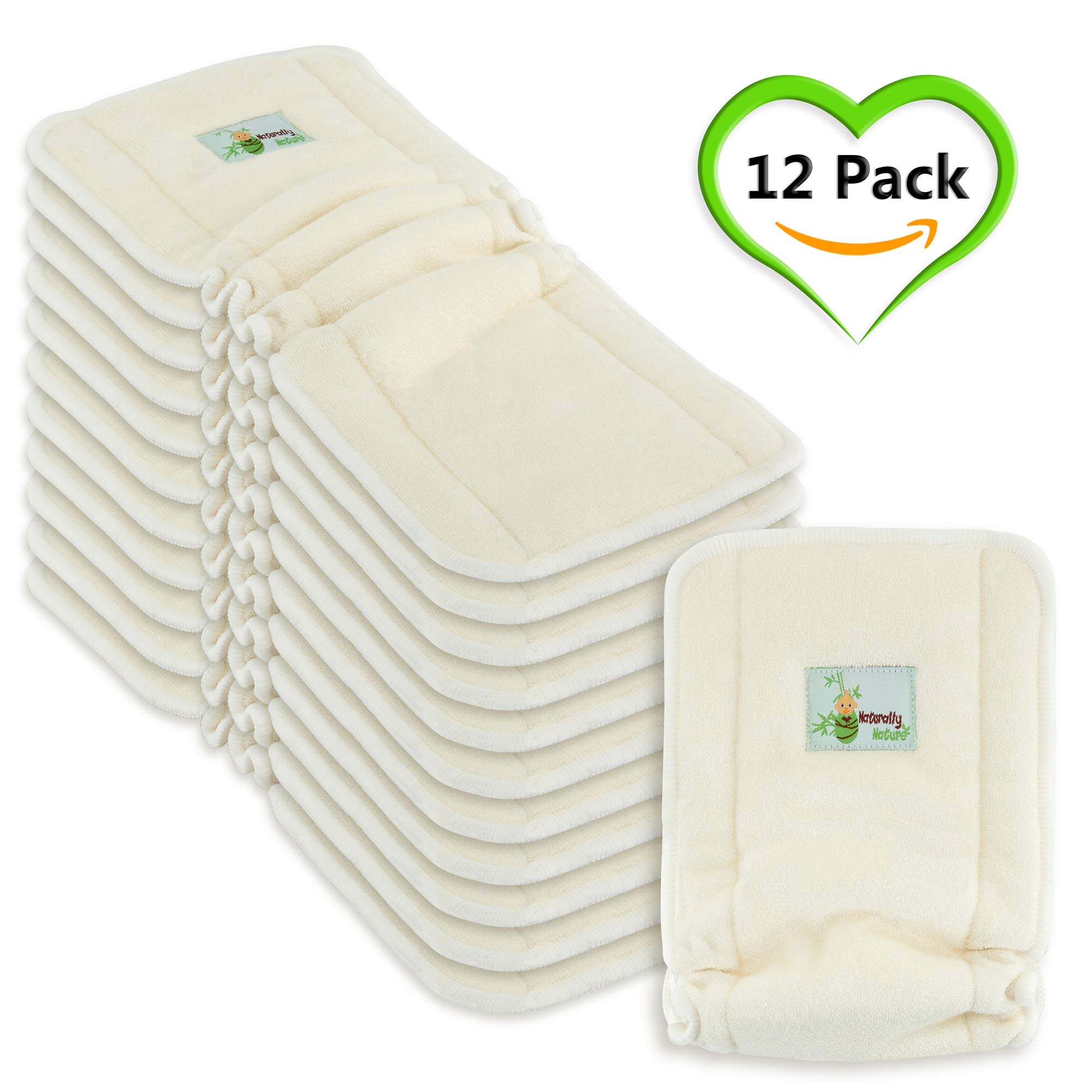 Naturally Natures 5 Layer Cloth Diaper - Inserts - with Gussetts Bamboo Reusable Liners for Cloth Diapers (Pack of 12)