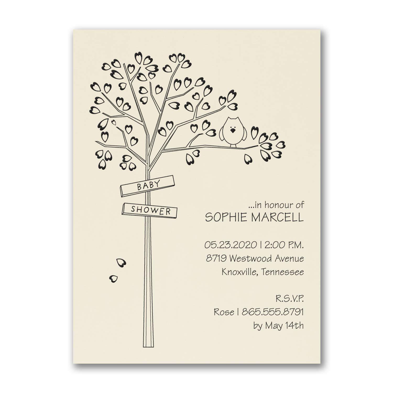 550pk Heart Tree - Baby Shower Invitation - Ecru-Baby Shower Invitations