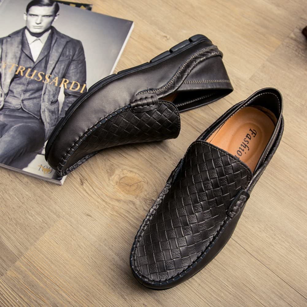 COINED Mens Embossing Genuine Leather Slip-On Driving Shoes