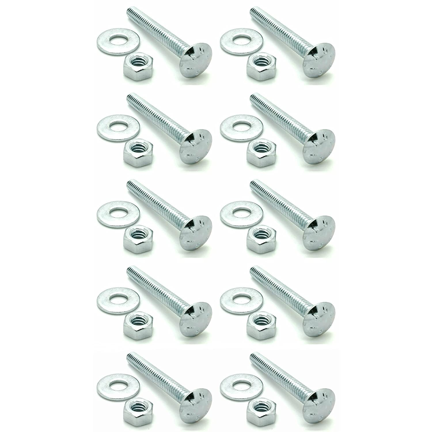 10 3//8-16 x 2 Long Carriage Bolts Set w//Nuts /& Washers SNG327 Ten SNUG Fasteners