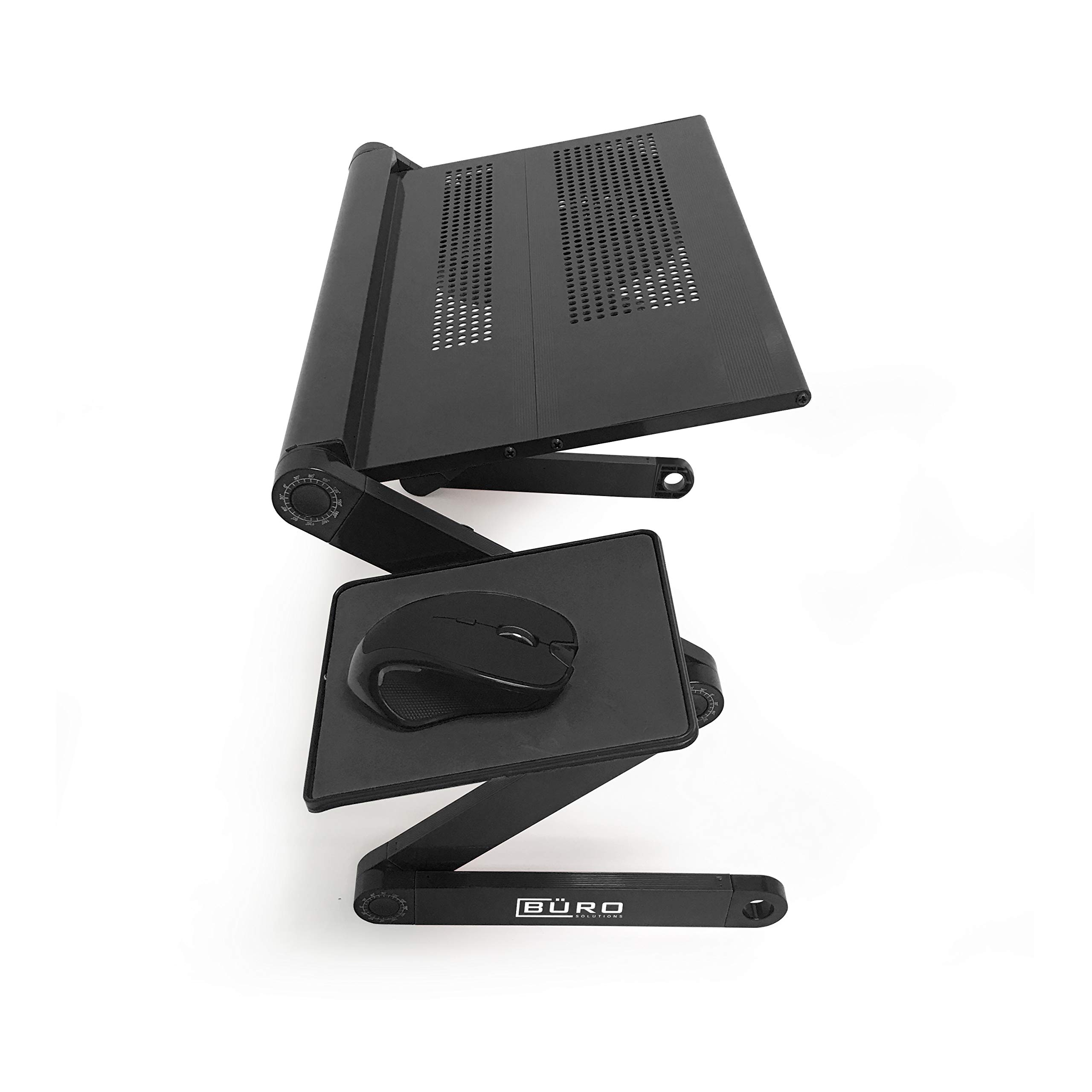 Height Laptop Holder is Adjustable for Desk Or Bed with Mouse and Mouse-pad | Black Color | Laptop Table Top with Vented Stand for Cooling | Comes with Side Tray for Mouse