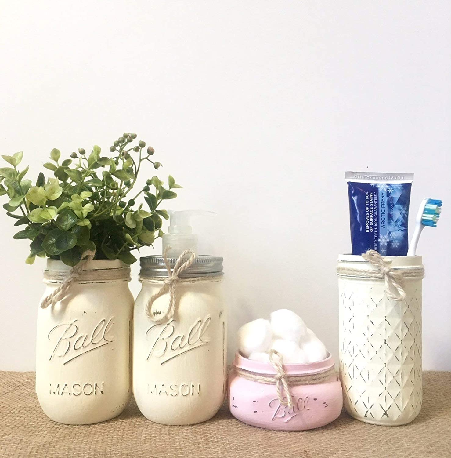 Rustic Mason Jar Bathroom Set, Your Choice of Colors, Soap Dispenser Lid Included!