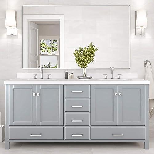 ARIEL Bathroom Vanity 73″ Inch Double Rectangle Sink
