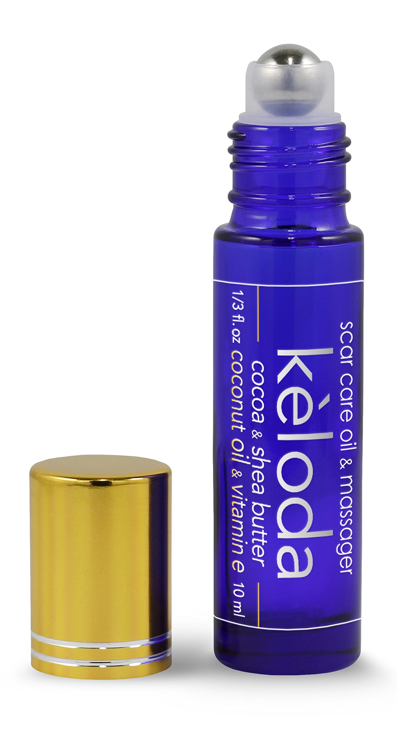 KELODA: Scar Massager with Cocoa and Shea Butter, Vitamin E, Coconut Oil and Lavender essential oil; natural scar care tool for surgical scars and keloids, and scarring after burn, piercing and acne