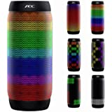 AEC Bluetooth Speakers Hi-Fi Ultra Portable LED Stereo Speaker 6 Light Modes, Built-in Microphone Hand-free Phone Call, Water Resistant, TF Card Play, FM Radio for Phone Tablets PC and More