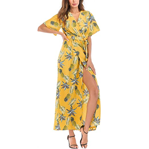 44b12436bd6 Image Unavailable. Image not available for. Color  Meland Women s Sexy  Floral Print V-Neck Ruffled Smocked Waist Slit Maxi Dress