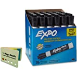 EXPO Low-Odor Dry Erase Markers, Chisel Tip, Black, 36-Count, Includes 5 Color Flag Set