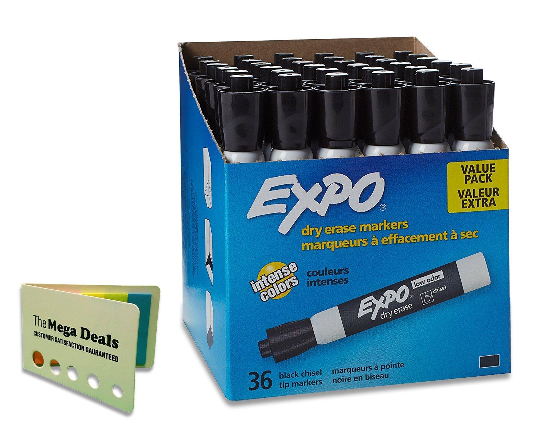 EXPO Dry Erase Markers, Chisel Tip, Black, 36-Count, Includes 5 Color Flag Set (Bundle)