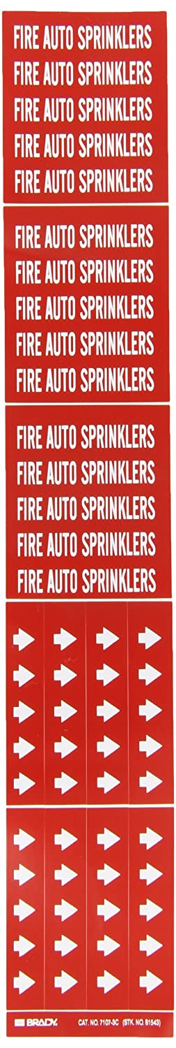 B-946 High Performance Vinyl Brady 7107-3C 2-1//4 Height 2-3//4 Width Legend Fire Auto Sprinklers White On Red Color Self-Sticking Vinyl Pipe Marker For 3 Or Less Outside Pipe Diameter