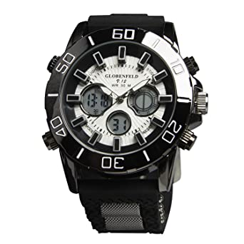 globenfeld limited edition v12 mens sports watch 5 year globenfeld limited edition v12 mens sports watch 5 year manufacturers warranty black metal casing