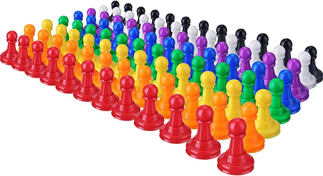 Set Rounded Top Pawns Board Game Replacement 8 Colors 1 inch Play Pieces Parts
