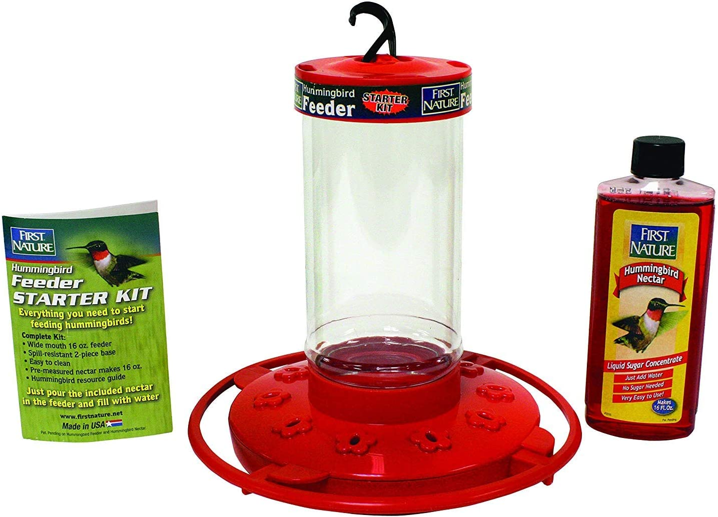 First Nature 16 oz. Hummingbird Feeder Red - Including a 4 Oz Hummingbird Concentrate Nectar That Makes 16 Fl.Oz
