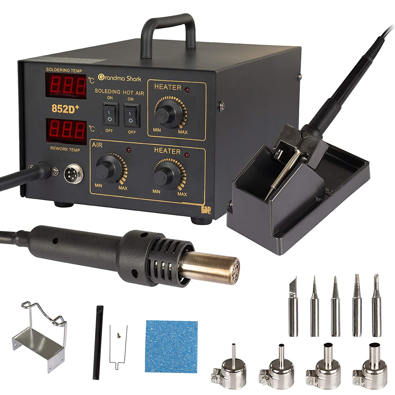 con pantalla LED de temperatura precisa (Tipo de bomba de aire) kit de soldadura de estaci/ón de desoldadura 852D Grandma Shark Estaci/ón de soldador 2 en 1