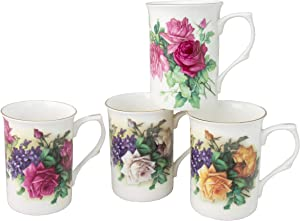 Gracie Bone China Classic English Garden Rose 10-Ounce Mug, Set of 4