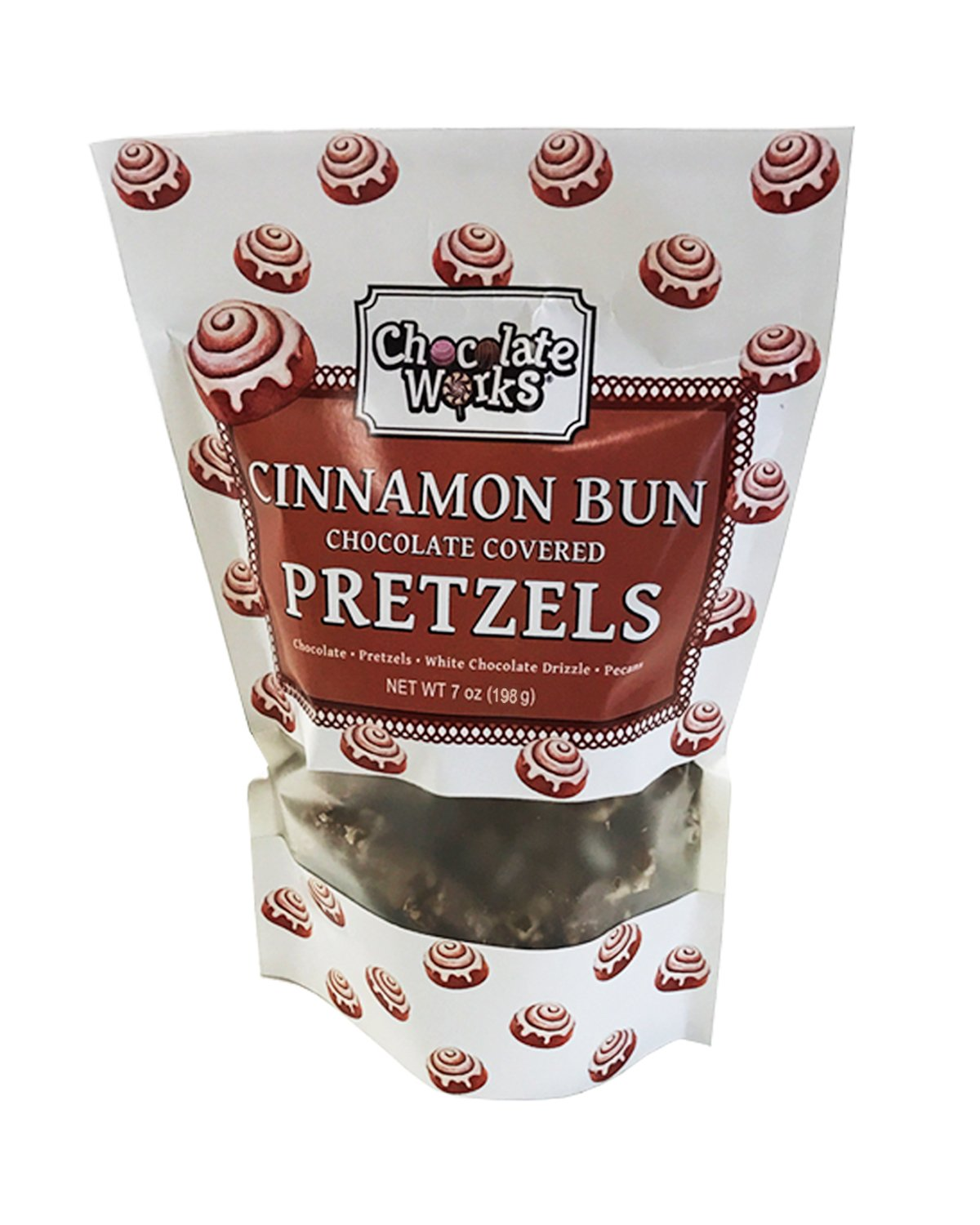 Cinnamon Bun Chocolate Covered Pretzels Pouches, 12 Pack by Chocolate Works