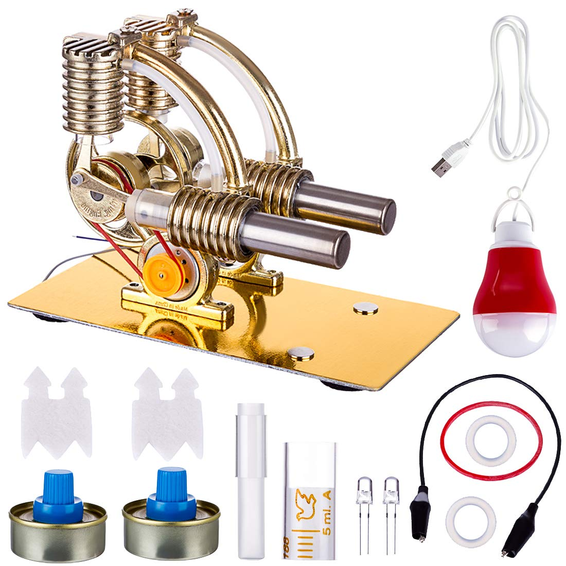 Yamix Stirling Engine Kit, L-Shape Double Cylinders Hot Air Stirling Engine Model with All-Metal Base and Big Bulb (Bulb Random Color)