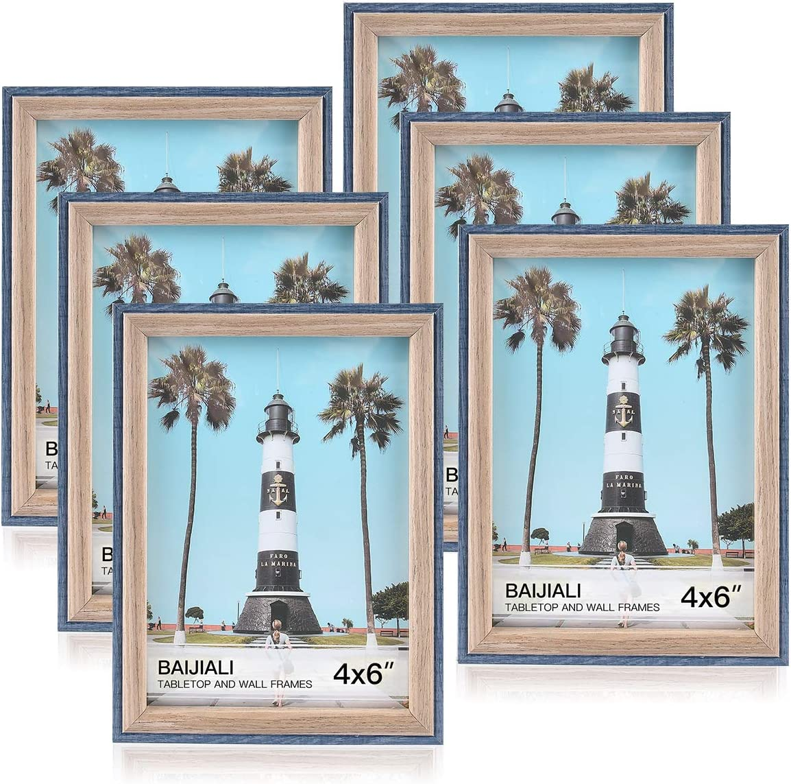 BAIJIALI 4x6 Picture Frame Set of 6 Rustic Photo Frames,100% Reclaimed Wood Frame Blue for Tabletop or Wall Decor,with High Definition Glass and 2 Extra Replaceable HD Plexiglasses