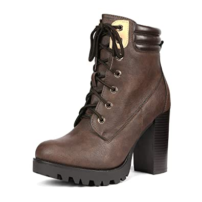 586ed7b828cb5 DREAM PAIRS Women's Earth Brown Chunky Heel Ankle Bootie Size 5 B(M) US