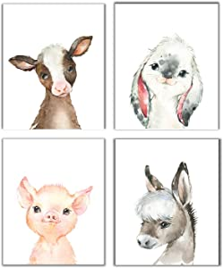 Little Baby Watercolor Farm Animals Prints Set of 4 (Unframed) Nursery Decor Art (8x10) (Option 2)
