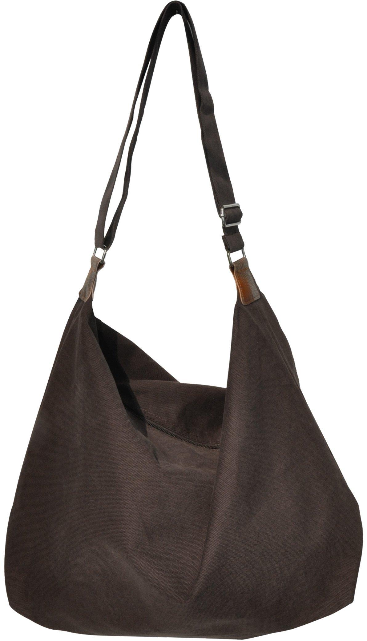 Unisex Hobo Style Casual Canvas Crossbody Shoulder Handbag, Oversized Fashion Bag[2way] (Sage hobo-brown)