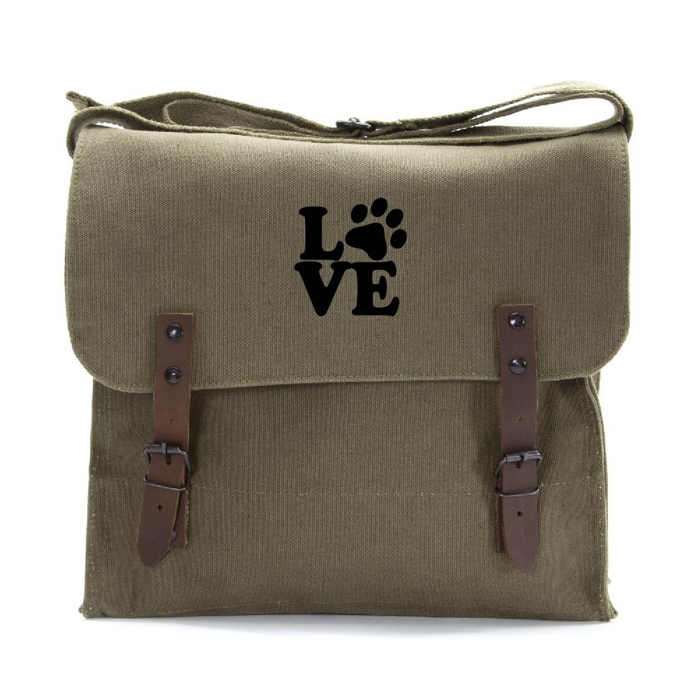 Love Dogs Army Heavyweight Canvas Medic Shoulder Bag in Olive & Black