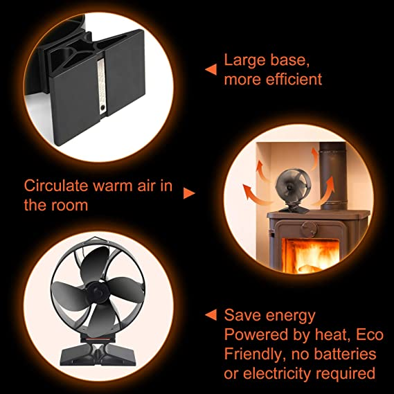 Amazon.com: FEPITO Wood Stove Fan Wood Burner Fan with Stove Thermometer and Nylon Brush for Wood/Log Burner/Fireplace,Heat Powered 4-Blade: Kitchen & ...
