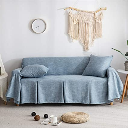 Peachy Couturebirdal Linen Couch Cover 1 Piece Soft Sofa Slipcover Ruffled Solid Couch Cover For Living Room Dusty Blue 78X102 Gmtry Best Dining Table And Chair Ideas Images Gmtryco