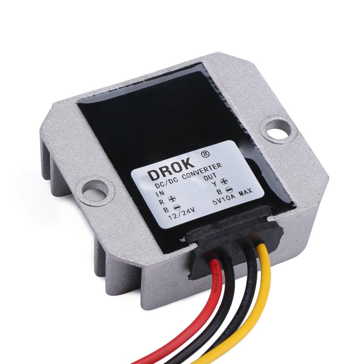 Drok 090586 Dc Waterproof Buck Converter 9 32v Step Circuitthe Circuit To Ac Converterdc Converter12v Down 5v Voltage Regulator 10a 50w Power Supply Industrial Scientific