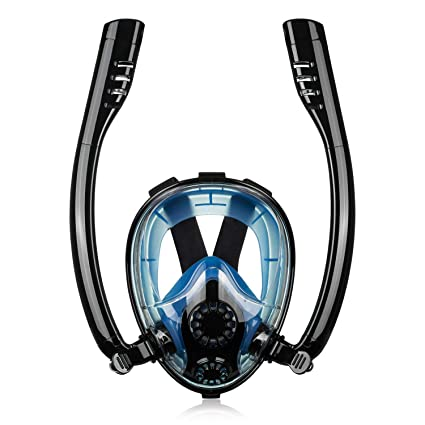 PETUOL Snorkeling Mask, Full Face Diving Panoramic Leak-Proof Anti-Fog  Mask, Double Breathing Foldable Breathing Tube with Mesh Bag and Earplug  for