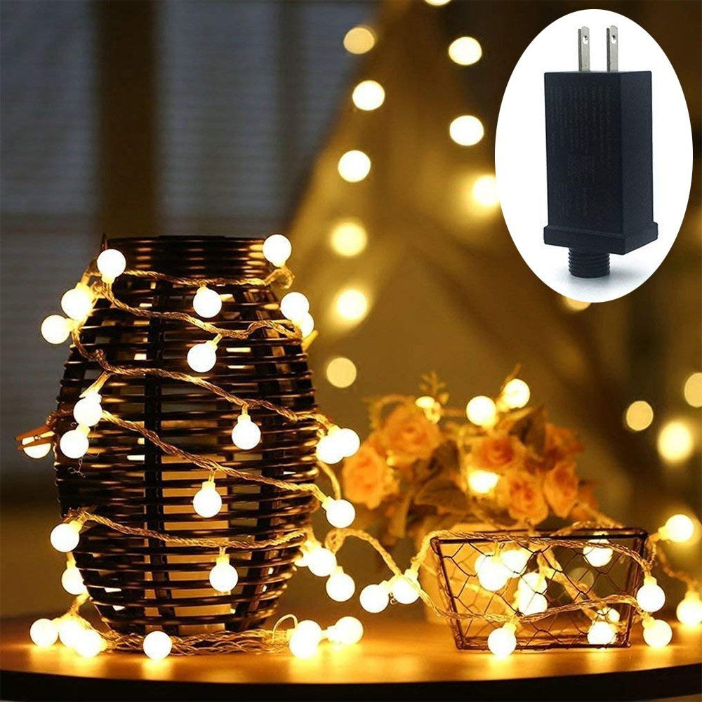 HConce LED String Lights Plug in String Lights 49feet 100 LED Warm White Globe Lights Waterproof Decorative Lights for Indoor and Outdoor Use with 29V Low Voltage Transformer