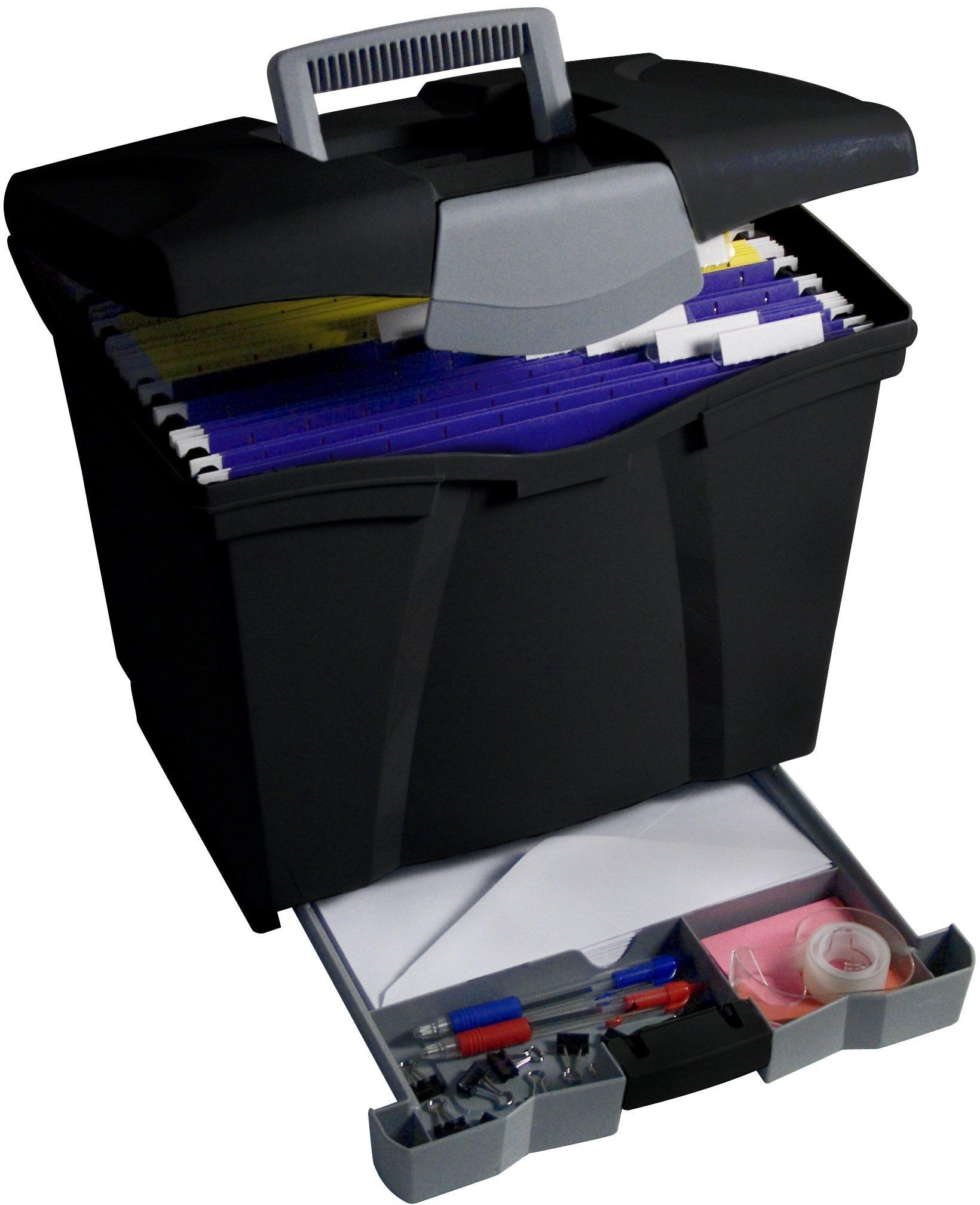 Storex Portable File Box with Drawer, Black (4 Set)