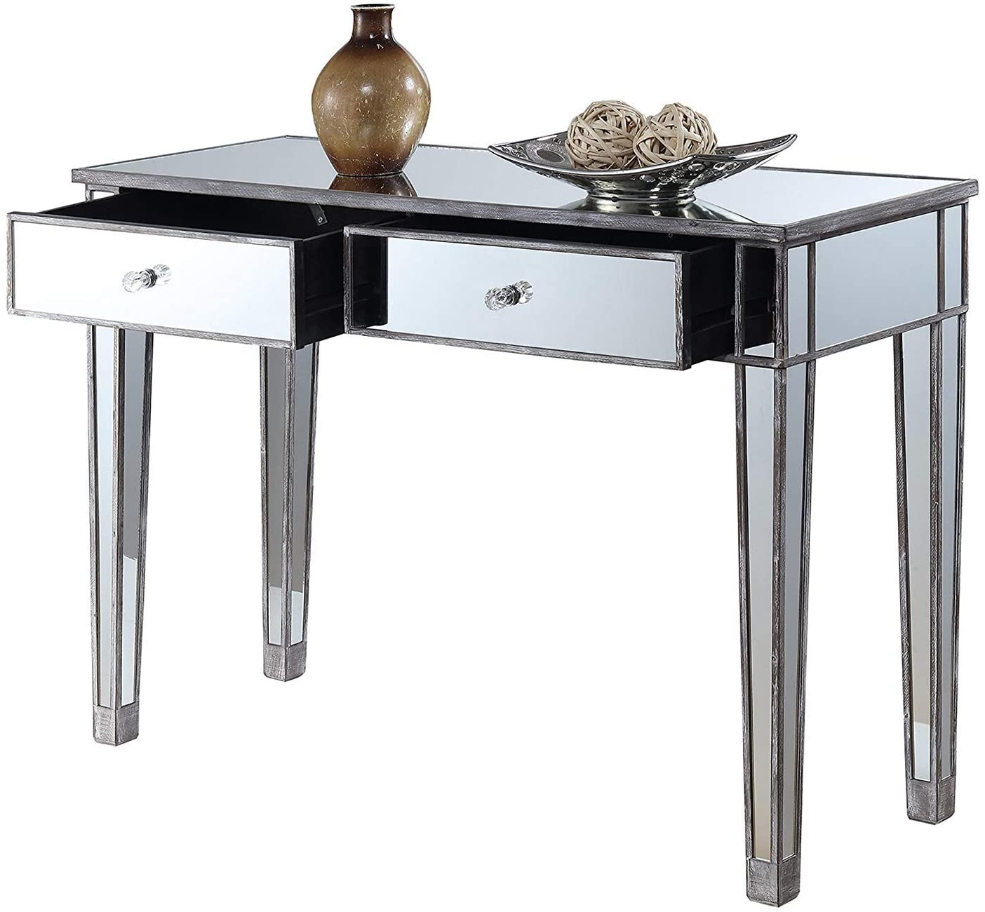 Convenience Concepts Gold Coast Mirrored Desk, Weathered Gray