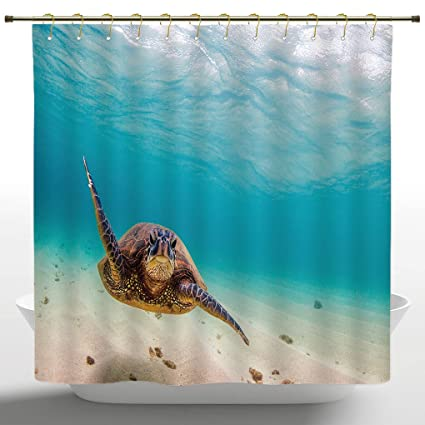 Fancy Shower Curtain By IPrintHawaiian Decorations CollectionUnderwater Scuba Diving Sea Turtle Nature