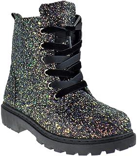 ad78cb2905fa Blue S Chunko Little Girls Velvet Lace Military Glitter Combat Boots