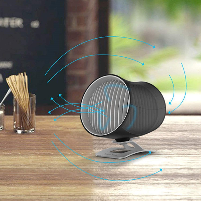 Air Cooler USB Fan Portable Mini Table Desk Fan with Double-Blades Touch Control Adjustable Cooling Fan Desktop Color : Black