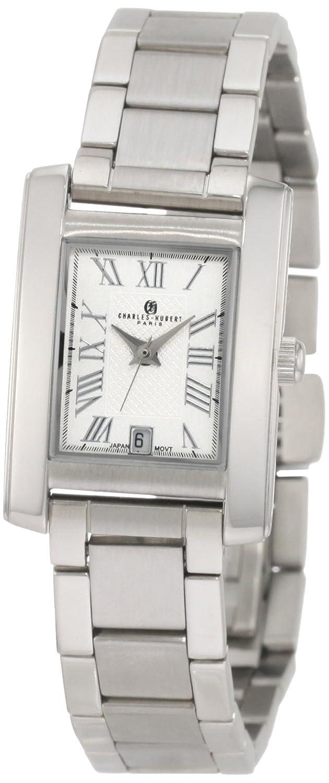 Charles - Hubert Stainless Steel - White Dial Rectangular Armbanduhr LADIES