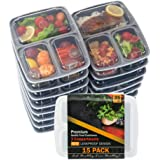 Food Storage Container 15-PACK Meal Prep Container Leak proof Lunch Containers Meal Prep Container Bento Box Container Airtight Lid Dishwasher Microwave SAFE Plastic Food Container 3 Compartments 35oz