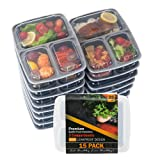 Amazon Price History for:Food Storage Container 15-PACK Meal Prep Container Leak proof Lunch Containers Meal Prep Container Bento Box Container Airtight Lid Dishwasher Microwave SAFE Plastic Food Container 3 Compartments 35oz