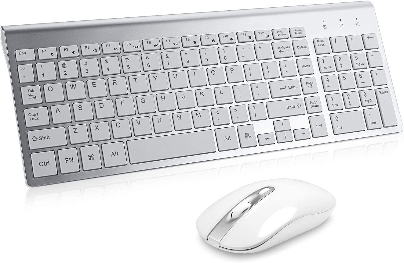Wireless Keyboard Mouse Combo, Cimetech Compact Full Size Wireless Keyboard and Mouse Set 2.4G Ultra-Thin Sleek Design for Windows, Computer, Desktop, PC, Notebook, Laptop - Silver