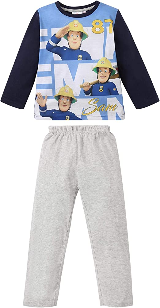 Sam le Pompier Gar/çon Pyjama bleu marine