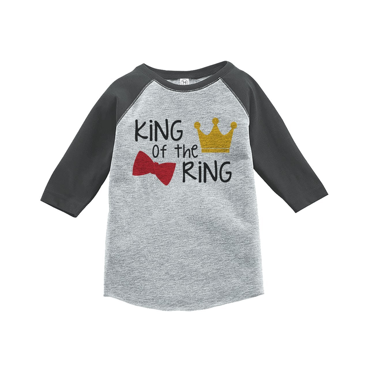 7 ate 9 Apparel Youth Boy's King Of The Ring Wedding Grey Raglan Small