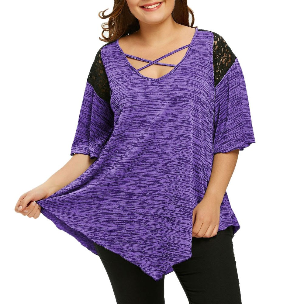 Women Lace Criss Cross Casual Flare Sleeve Irregular Tunic Tops Blouse T-Shirt