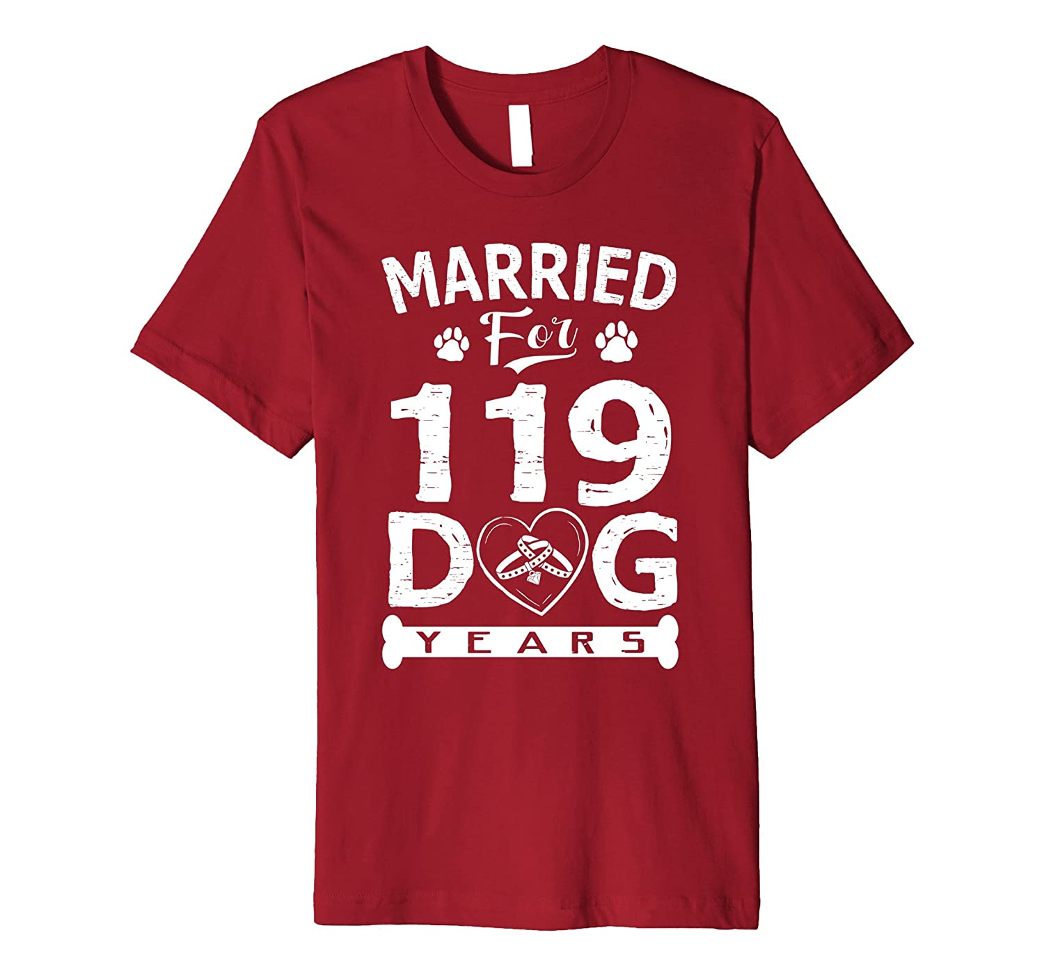17th Wedding Anniversary T-Shirt Married For 119 Dog Years-ANZ
