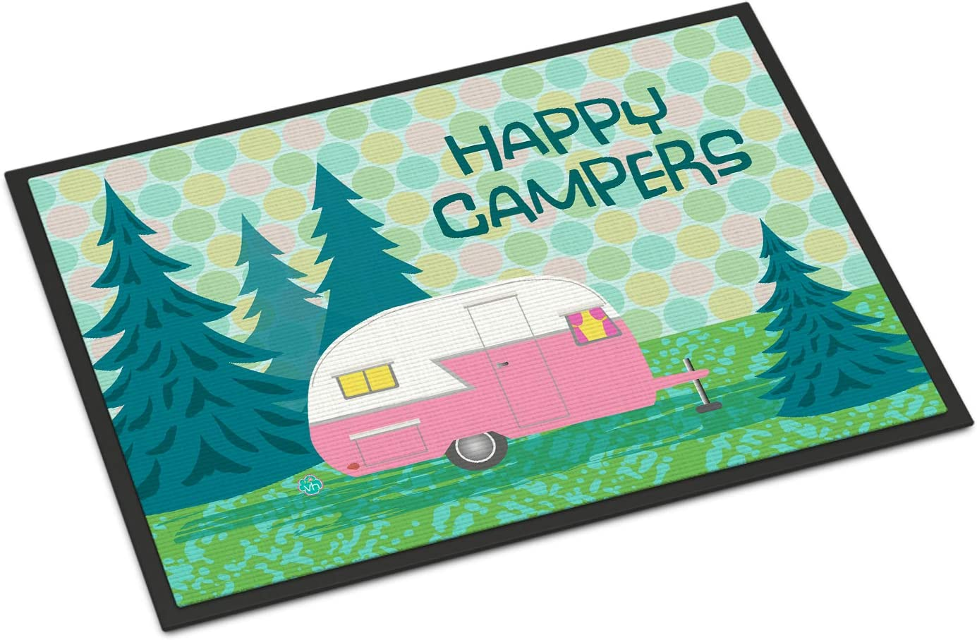 Caroline s Treasures VHA3004MAT Happy Campers Glamping Trailer Indoor or Outdoor Mat 18×27, 18H X 27W, Multicolor