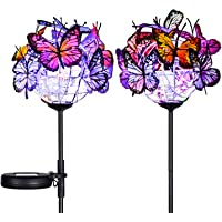Doingart Outdoor Solar Garden Lights - 2 Pack Solar Powered Garden Stake Lights with 18 Butterflies and Copper String…
