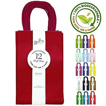 Amazon.com: 12 bolsas sólidas de papel Kraft, S, Rojo ...