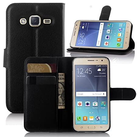 Excelsior Leather Wallet Flip Cover Case for Samsung Galaxy J3 2016 Edition   Black Cases   Covers