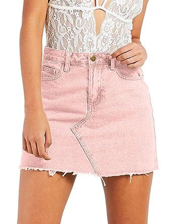 Eliacher Jean Skirt for Women A-line Fringed Slim Fit Denim Short Skirts (M fb5c2cde594d