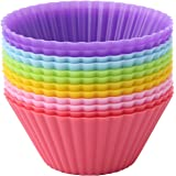 Crazy Egg Reusable Silicone Baking Cups Muffin Molds (12, Multicolor)